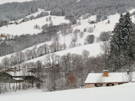 Megeve Ski Resort in French Alps under snow photo