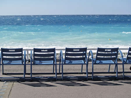 Three Deck Chairs in front of the sea, Nice, France