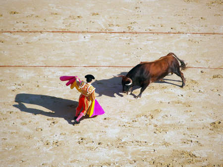 Bullfighter and black bull in action. Nimes, France photo