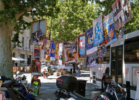 Plenty of playbills on a tree in Avignon during famous theatre festival
