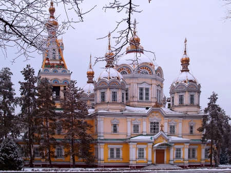 Russian Orthodox cathedral located in Panfilov Park in Almaty, during winter