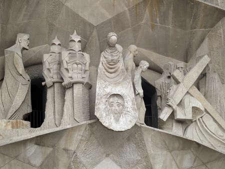 historic world event: Sagrada Familia made by Antoni Gaudi, architecture detail, Barcelona, Spain. Editorial