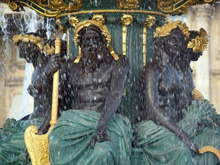 Detail on a fountain in the Concorde square in Paris, France photo