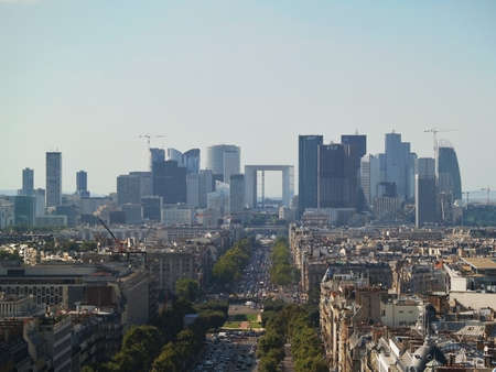View of the champs elysees from the top of arc de Triomphe