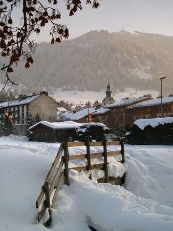vip area: Megeve Ski Resort in French Alps under snow