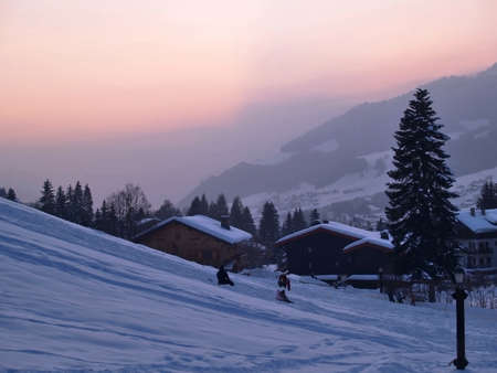 Megeve Ski Resort in French Alps, sundown photo
