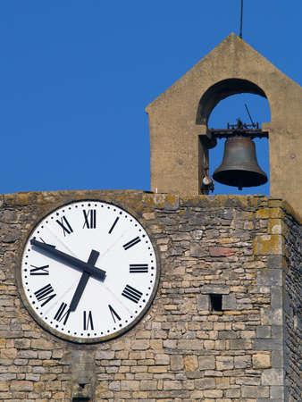 ze: Clock tower in Bagnols-sur-C&Atilde,&uml,ze,  Languedoc-Roussillon, France Stock Photo