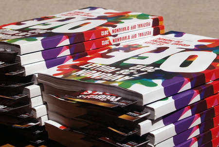 Avignon, France - July 11th, 2012: Catalogs of the famous Theatre festival in Avignon, France