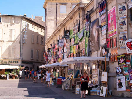 Avignon, France - July 11th, 2012: Plenty of playbills on a wall in Avignon during famous theatre festival