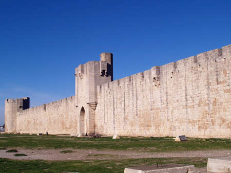 middleages: Aigues Mortes: the part of the fortifications built to protect Crusaders and salt which was extremely precious during middle-ages. South of France, Languedoc.