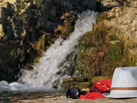 waterfall in roque sur ceze, south of France photo