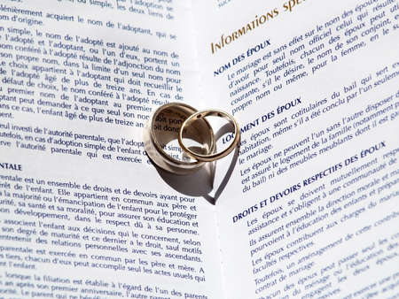 marriage certificate: two wedding rings on a marriage certificate  Shallows from the rings make two hearts