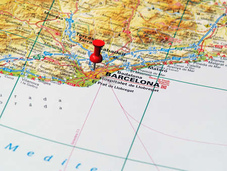Focus on Barcelone on the Map  Source   photo