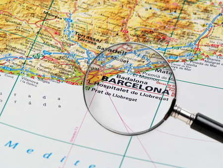 Focus on Barcelone on the Map  Source   Stock Photo