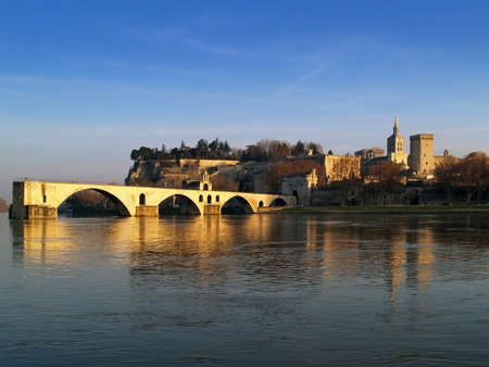 The Popes' palace and the St.-Benezet bridge in Avignon, France view from the Bartelasse Island Stock Photo - 15509335
