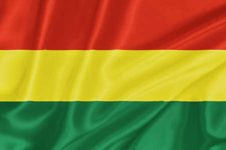 southamerica: Flag of Bolivia waving with highly detailed textile texture pattern