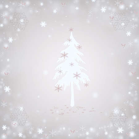 Christmas background with a fir and snowflakes Stock Photo - 16596546