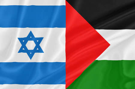 Flag of Israel with flag of Palestine waving with highly detailed textile texture pattern Stock Photo - 16668061