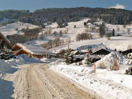 Megeve Ski Resort in French Alps under snow photo