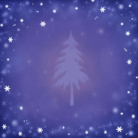 Christmas background with a fir and snowflakes photo