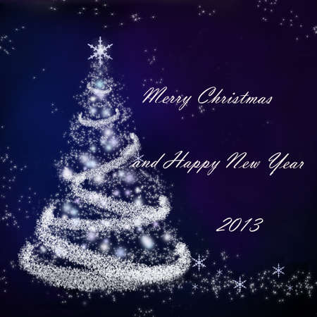 christmasbackground: Christmas background with a fir and snowflakes Stock Photo