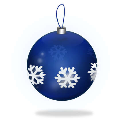 saturated color: Blue Christmas Ball isolated on blanc background
