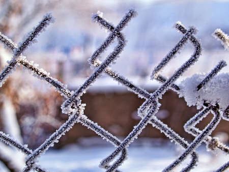 Frosted wire fence closeup with soft background. photo