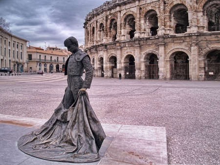 Roman Coliseum -les  Arenes de Nimes, France      Stock Photo