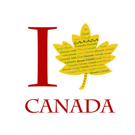 I love Canada on the maple pattern Stock Photo - 17457061