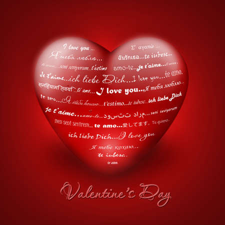 Illustration -  I love you  in different languages - valentine card illustration