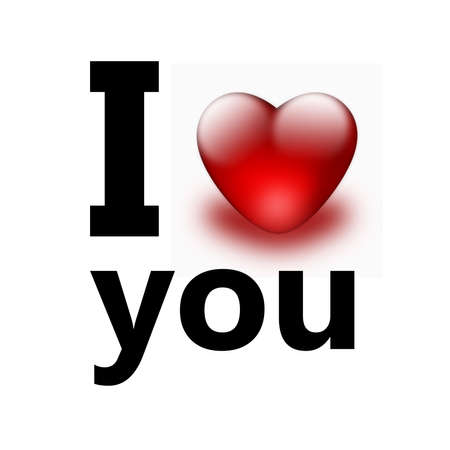 I love you with a red heart photo
