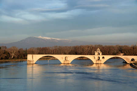 The Bridge of Avignon on the evening sun Stock Photo