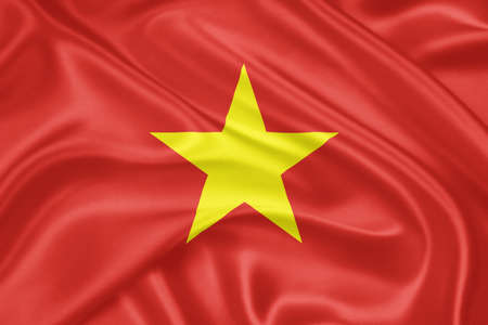 indochina peninsula: Flag of Vietnam waving with highly detailed textile texture pattern