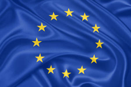 eurozone: Flag of the European Union waving with highly detailed textile texture pattern