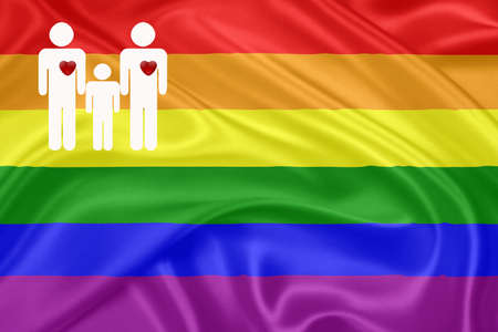 Same - sex marriages  Rainbow gay Flag and a male couple Stock Photo