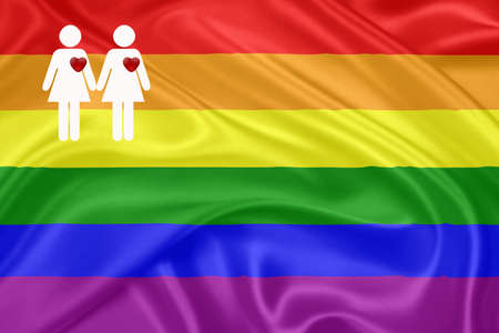 same sex: Same - sex marriages  Rainbow gay Flag  and a female couple