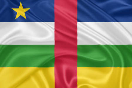 central african republic: Flag of the Central African Republic waving with highly detailed textile texture pattern Stock Photo
