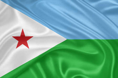 Flag of Djibouti waving with highly detailed textile texture pattern photo
