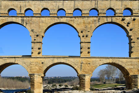 Roman aqueduct at Pont du Gard France  photo