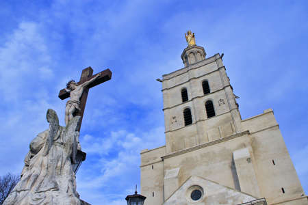 The Popes Palace in Avignon, France:  Notre-Dame des Doms Cathedral photo