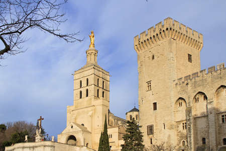 The Popes Palace in Avignon, France on sundown