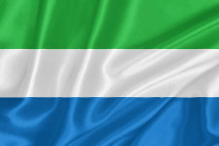 Flag of Sierra Leone waving with highly detailed textile texture pattern photo