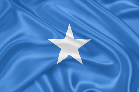 somalian flag: Flag of Somalia waving with highly detailed textile texture pattern