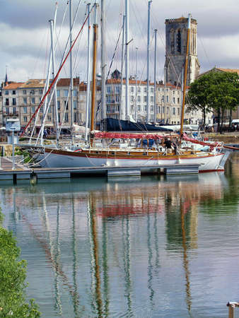 an old harbor of  La Rochelle in France , region Charente poitou  Editorial