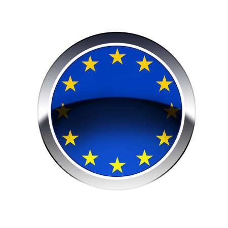 eec: EU flag  on button isolated on white