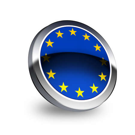 eec: EU flag  on button isolated on white