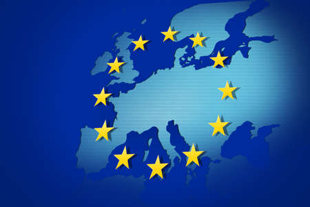 european economic community: European Union: flag and map Stock Photo