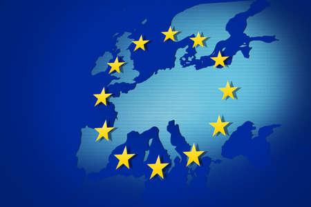 eec: European Union: flag and map Stock Photo