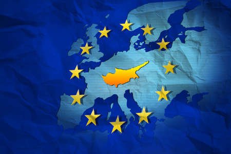 European crisis: Cyprus contour at the creased map of European Union photo