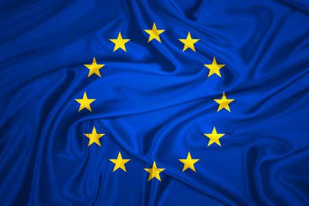 zone euro: Drapeau de l'Union europ�enne en agitant avec motif textile texture tr�s d�taill�e